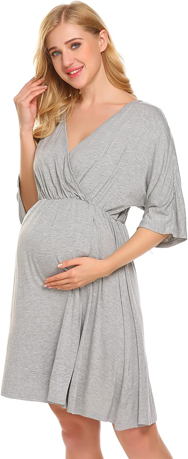 Ekouaer Women's Maternity Dress Nursing Nightgown for Breastfeeding Nightshirt Sleepwear