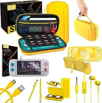 Orzly Paquete de Accesorios para Nintendo Switch Lite – Incluye: Protectores de Pantalla & Funda para Switch Lite Consola, Funda Comfort Grip, Cable USB, Auriculares y más. (Amarillo): Amazon.es: Electrónica