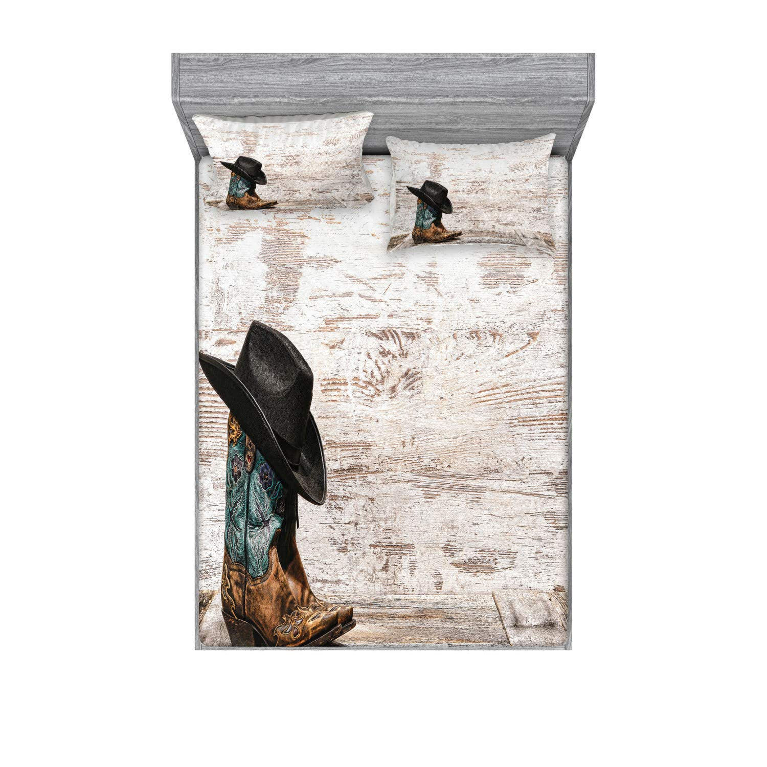 Ambesonne Western Fitted Sheet & Pillow Sham Set, Traditional Rodeo Cowboy Hat and Cowgirl Boots Retro Grunge Background Art Photo, Decorative and Printed 3 Piece Bedding Set, Queen, Brown Black