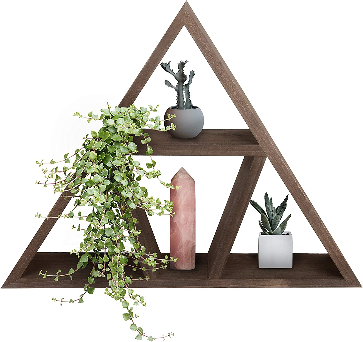 Wood Triangle Shelf for Crystal Décor. Wall Hanging Geometric Display Shelving for Oils, Plants, Crystals, Stones and Geodes. Pyramid Floating Shelves and Rustic Holders for Spiritual Therapy