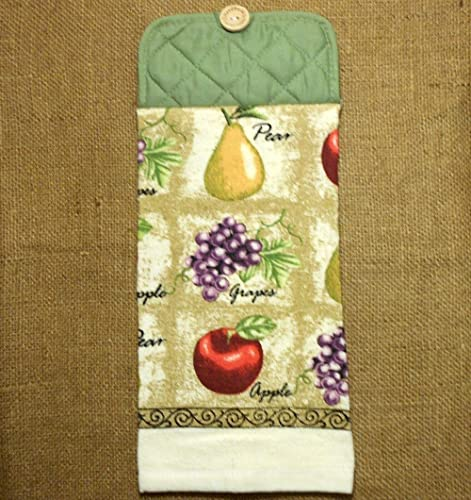 Apple Pear And Grape Themed Hanging Dish Towel, Fruit Kitchen Decor