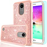 LG K20 V Case,LG K20 Plus Case,LG K10 2017 / LG Harmony / LG Grace Case with HD Screen Protector,LeYi Luxury Glitter Bling Cute Girls Women Hybrid Heavy Duty Protection Case for LG K20 V TP Rose Gold