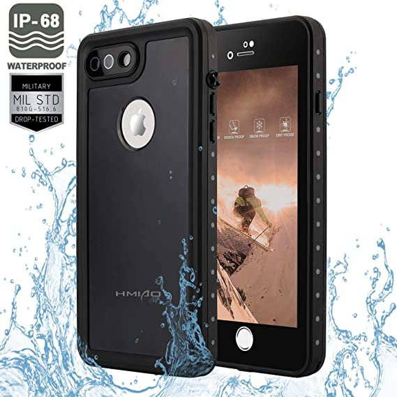 HMIAO iPhone 7 8 & Plus Waterproof Case Fully-Sealed Dry Cover IP68 Certified Underwater/Shockproof/Dirtproof/Snowproof/Drop Ressistant Case for ...