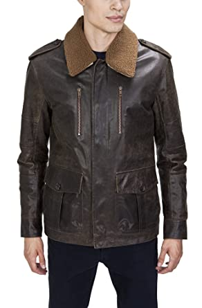 aesthetic appearance store cheapest price United Face Mens Distressed Leather Military Jacket