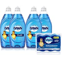 Dawn Ultra Dishwashing Liquid Dish Soap (4x19oz) + Non-Scratch Sponge (2ct), Original Scent (Packaging May Vary)