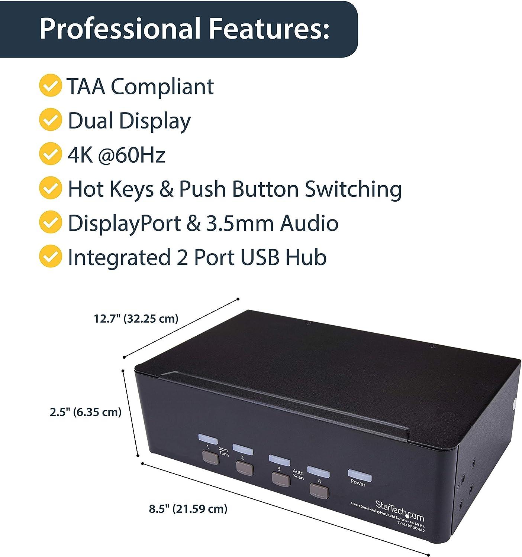 4K 60 Hz DisplayPort KVM StarTech 2 Port DisplayPort Dual-Monitor KVM Switch