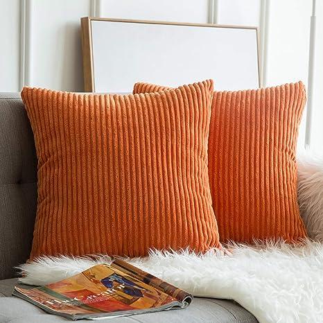 Corduroy Pillow Case Sofa Waist Throw Cushion Solid Pillow Cover Home Decor K97