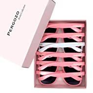 Bride and Bridesmaid Sunglasses - Set of 6 (White & Pink) Wayfarer Style | Bridesmaid Gifts + Bachelorette Gifts + Bridesmaid Proposal Box Gifts + Bridal Party Gifts + Bachelorette Party Gifts