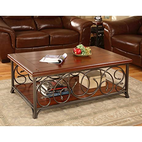Amazoncom Metro Shop Scrolled Metal and Wood Coffee Table Kitchen