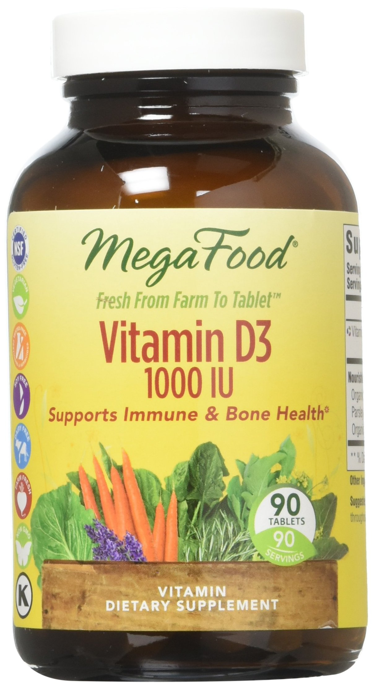 MegaFood - Vitamin D3 1000 IU, Support for Immune Health, Bone Strength, Hormone Production with Organic Herbs and Food, Vegetarian, Gluten-Free, Non-GMO, 90 Tablets (FFP)