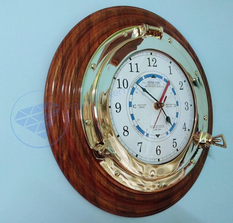 Nautical Time Tide Clock On Premium Wooden Base - Polished Brass Porthole Wall Hanging Decor Nagina International (16 Inches)