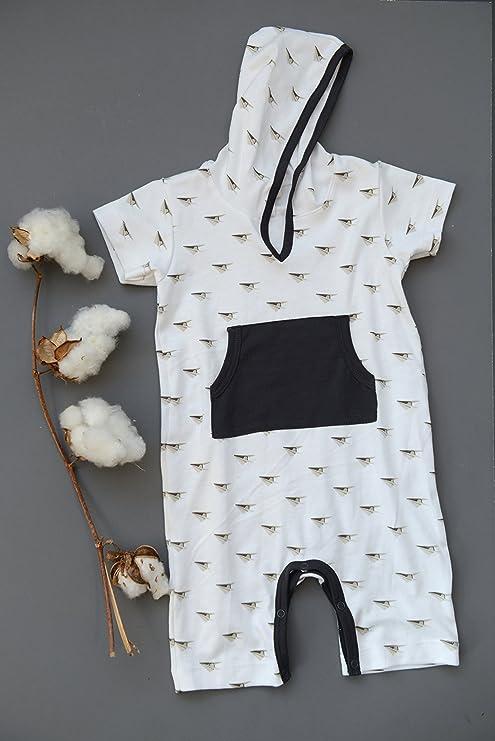 Plumas bebé Little Boys algodón Pima canguro de manga corta sudadera con capucha body: Amazon.es: Ropa y accesorios