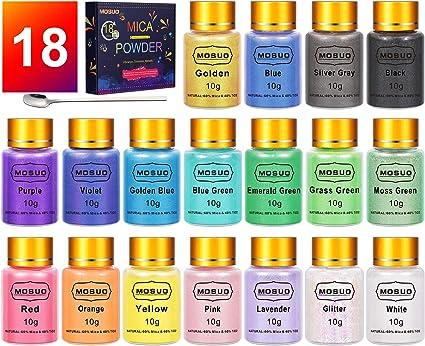 MOSUO Pigmentos en Polvo, 10g*18 Colores Natural Mica Tintes para teñir Resina Epoxi, Jabones, Cera, Pintura, Vela, Uñas, Cosmético y Arte de ...
