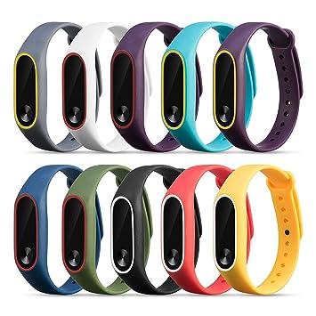 FUNKID Pulsera para Xiaomi 2 Correa de Reloj Elegante Reemplazo de Bandas para Mi2 (10 Colores Compuesto)- diseño Liso: Amazon.es: Deportes y aire libre