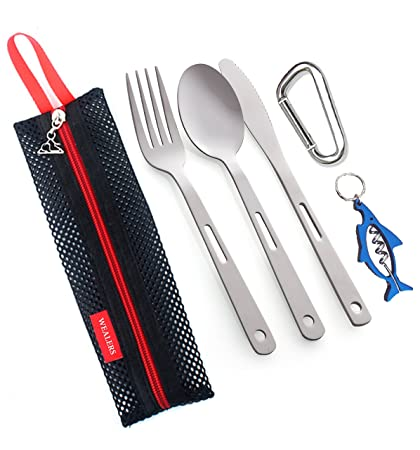 Amazon Com Camping Cutlery Utensil Travel Set 5 Piece Camping