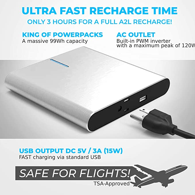 Amazon.com: lifepowr A2 L – 27.000 mAh batería con USB de ...