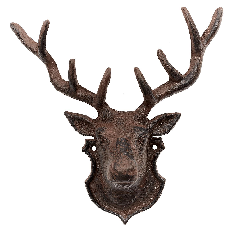 Deer Head Wall Decoration Hook, Cast Iron Garden Ornament Primus