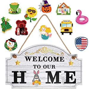 Jetec Welcome to Our Home Wooden Sign with 12 Pieces Interchangeable Holiday Magnets Seasonal Sign Hanging Decoration for Halloween Easter Christmas St. Patrick Thanksgiving Front Door Decor (White)