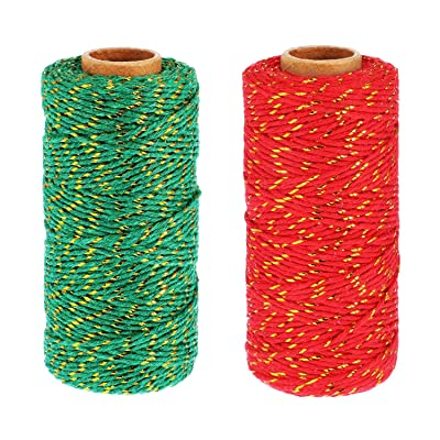 Pangda 2 Rolls Christmas Twine 2 mm Gift Wrapping Twine Cotton Bakers Twine with Gold Wire for Christmas DIY Party Supplies, 656 Feet Totally (Red/Green) : Office Products