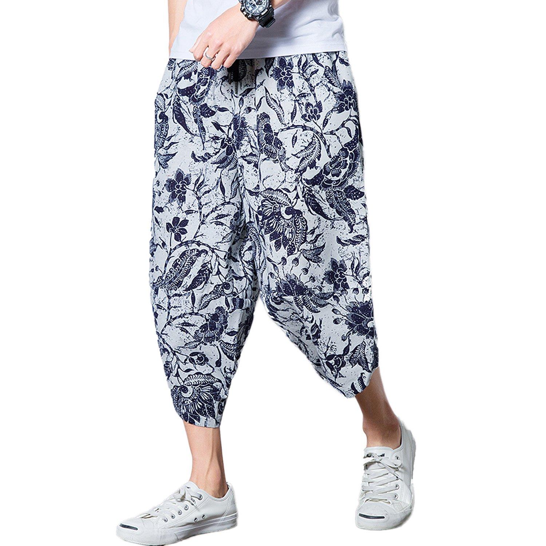 MOKEWEN Men's Elastic Waist Drawstring Jogger Harem Pants MKP0001