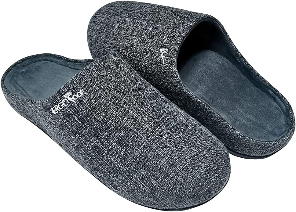 Orthotic Slippers with Arch Support for Plantar Fasciitis Pain Relief, Comfortable Orthopedic Clog House Shoes with Indoor Outdoor Anti-Skid Rubber Sole by ERGOfoot (8 US Women/ 7 US Men)