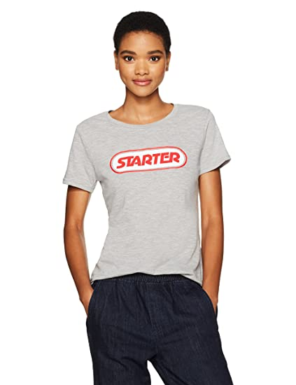7162f26ae2f4 Starter Women's Short Sleeve Chest Logo T-Shirt, Amazon Exclusive, Vapor  Grey Heather