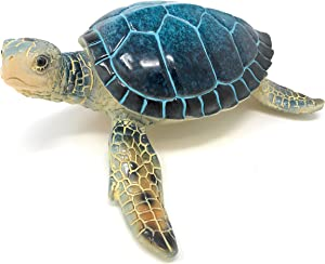 Green Tree Blue Sea Turtle Resin Figurine, Indoor Outdoor Decor, 6.25 Inches Wide