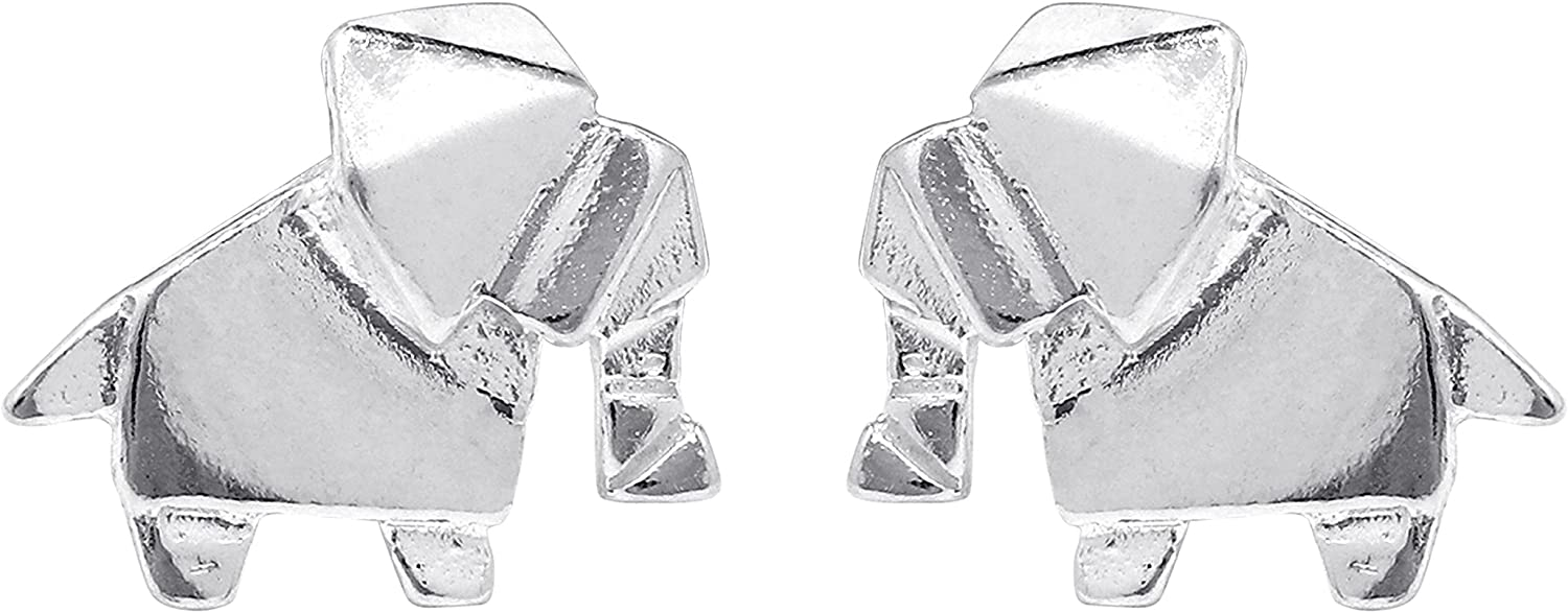 Boma Jewelry Sterling Silver Origami Elephant Stud Earrings