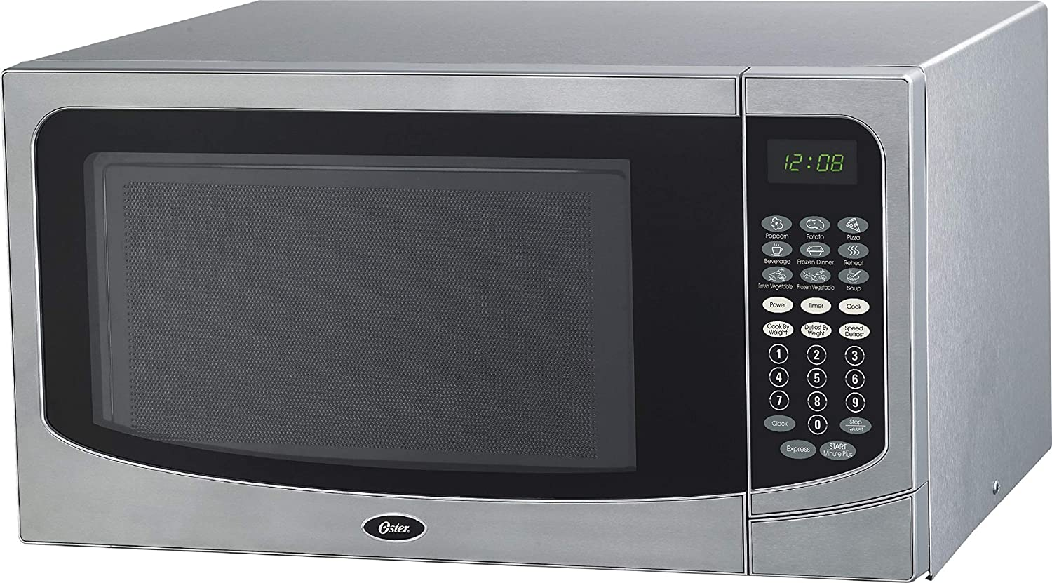 Oster OGCMB916S5-10 Family-Size 1.6-Cu. Ft. 1000W Countertop Microwave Oven, Stainless