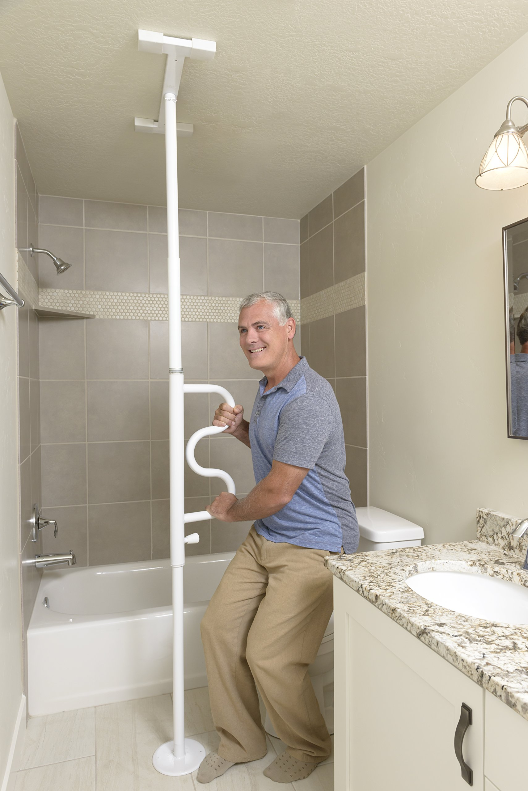 Stander Security Pole & Curve Grab Bar - Elderly Tension Mounted Transfer Pole + Bathroom Assist Grab Bar - Iceberg White by Stander (Image #2)