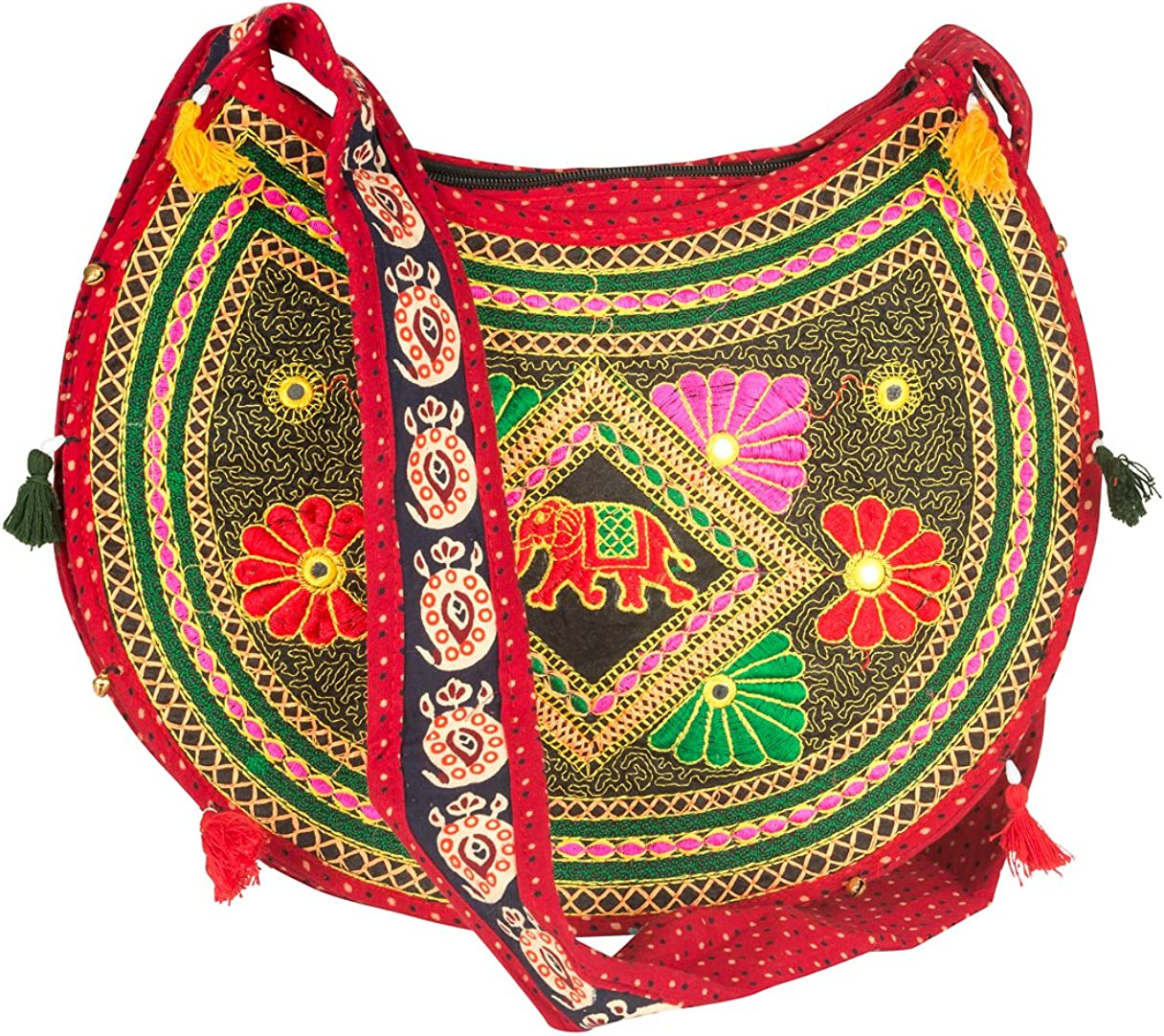 Sling Cross body Elephant Hobo Women Messenger Shoulder Bag Red Embroidered Hippie Casual Colorful Medium Small Satchel Tote