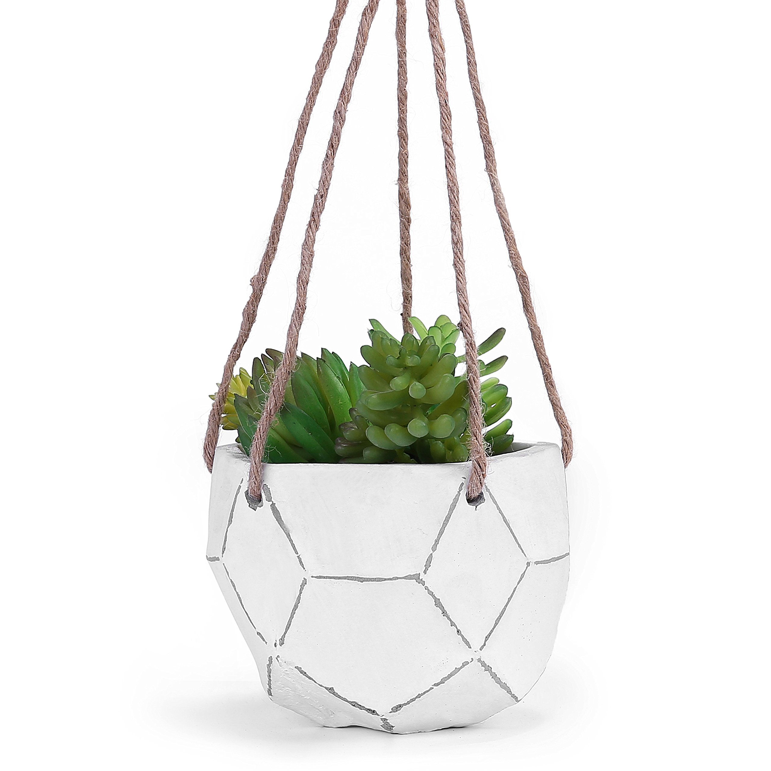 MyGift Geometric Design Hand-Painted Clay Hanging Succulent Planter Pot