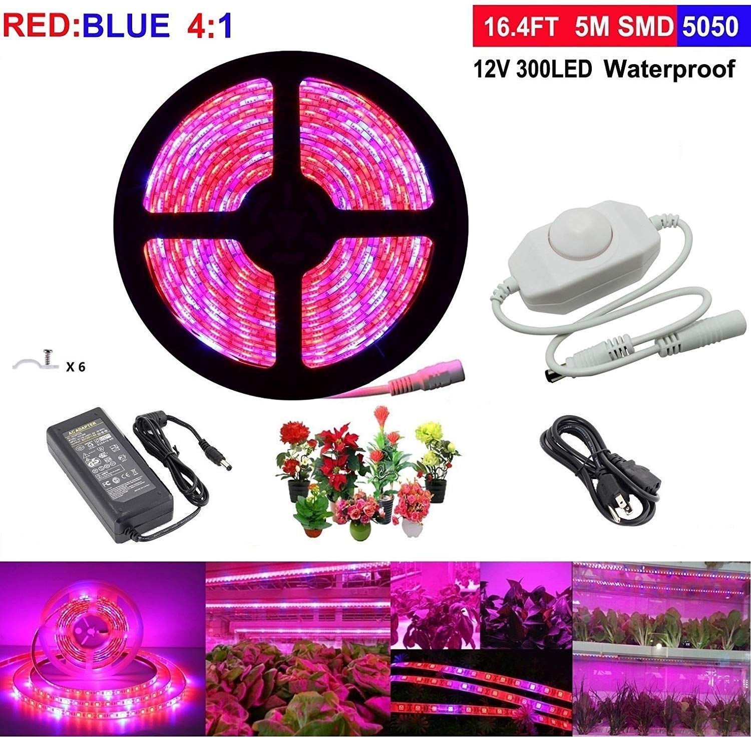 LED Grow Light,Topled Light® Plant Light Strip with Rotate Dimmer,Full Spectrum SMD 5050 Flexible Soft Red Blue 4:1 Rope Light for Home Greenhouse Hydroponic Pant Garden Flowers Veg Grow Light (5M)