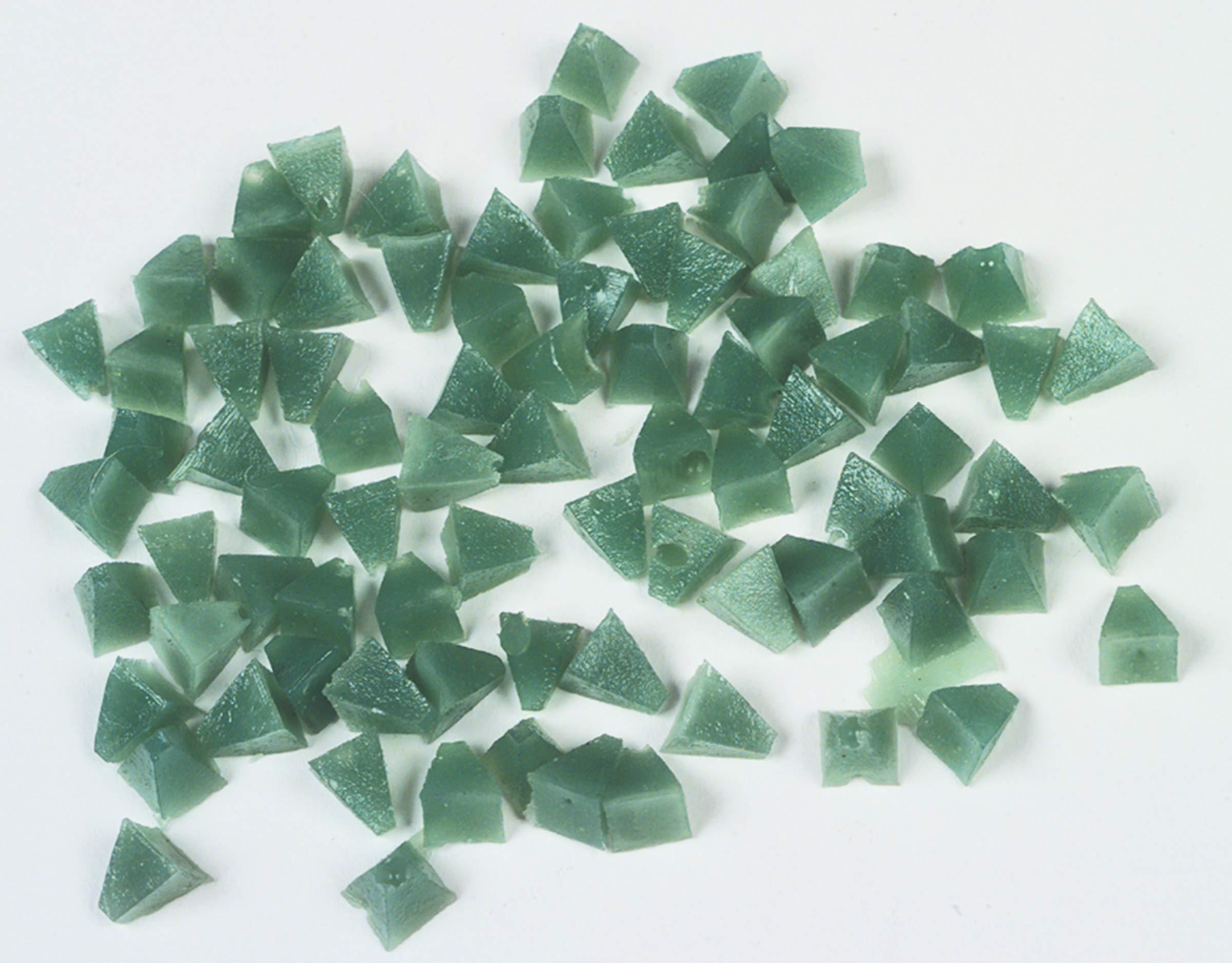 Raytech 41-119 Very Fine Cut Pyramids Plastic Media, 55 lbs/cu ft Density, 1/4'' Size, Green, 5lbs Weight