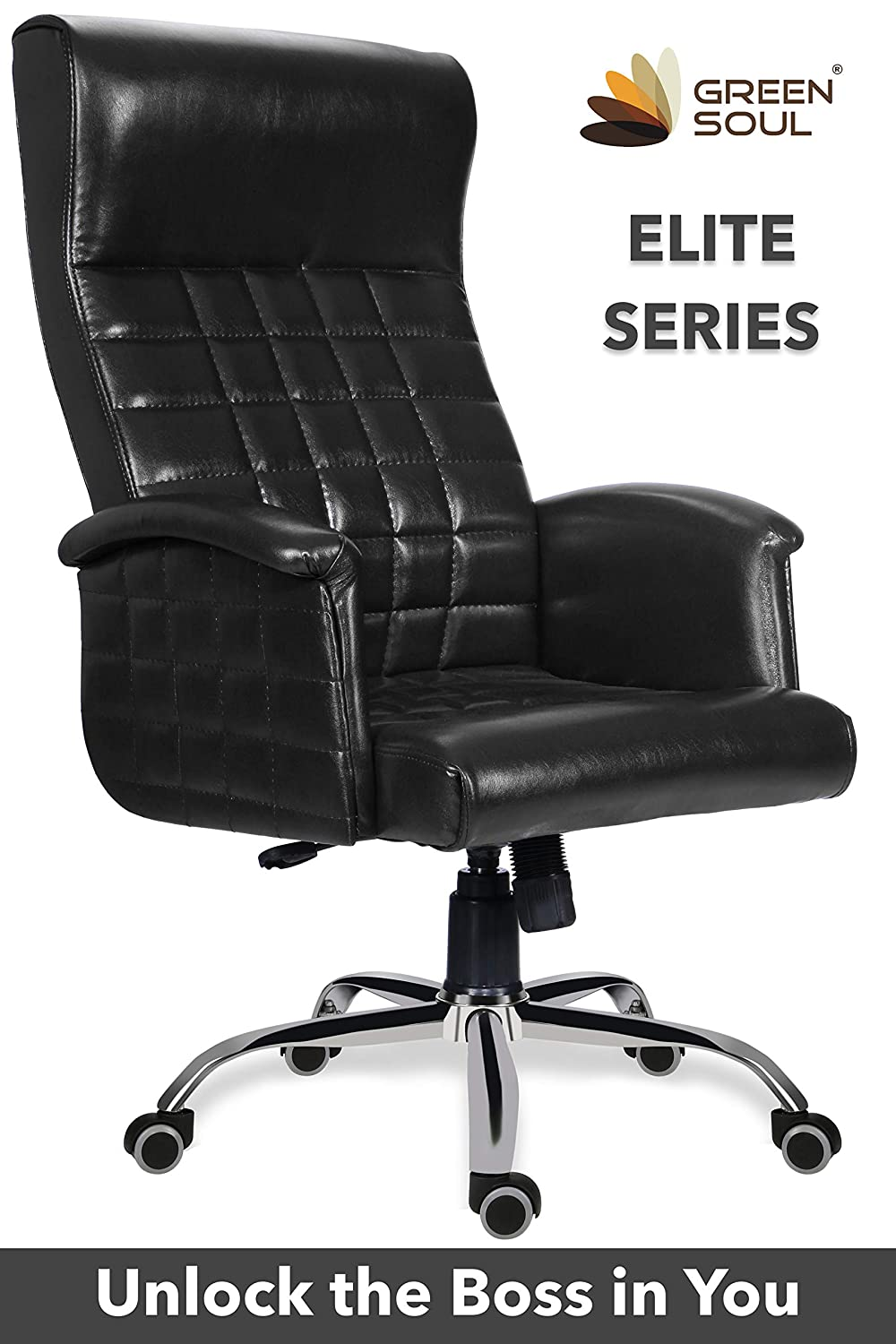 Green Soul Elite Boss/CEO/Director/Maharaja Chair (Black)