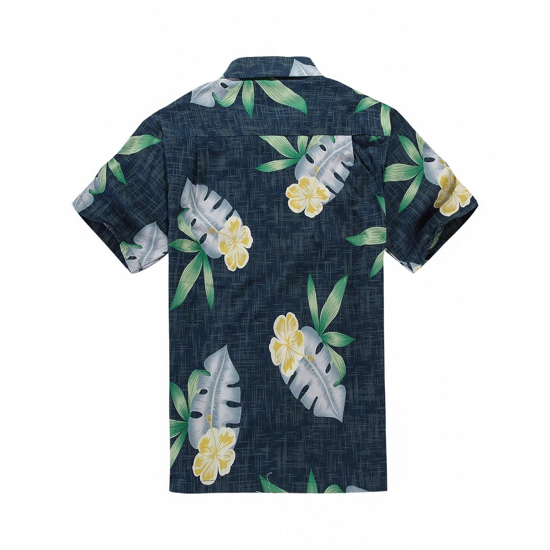 d70c25f198c7d Men s Hawaiian Shirt Aloha Shirt in Navy Hibiscus Leaves Large at Amazon  Men s Clothing store