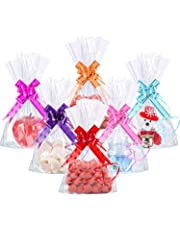 50 Counts 15 x 25 cm Clear Flat Cello Cellophane Treat Bags Cellophane Block Bottom Storage Bags Sweet/Party/Gift/Home Bags with Colorful Bag Ties (Style A)