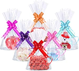 50 Counts Clear Flat Cello Treat Bags Cellophane Block Bottom Storage Bags Sweet Party Gift Home Bags with 60 Pieces Colorful Bag Ties (15 x 25 cm/ 5.9 x 9.8 Inch)