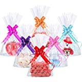 50 Counts Clear Flat Cello Treat Bags Cellophane Block Bottom Storage Bags Sweet Party Gift Home Bags with 60 Pieces…