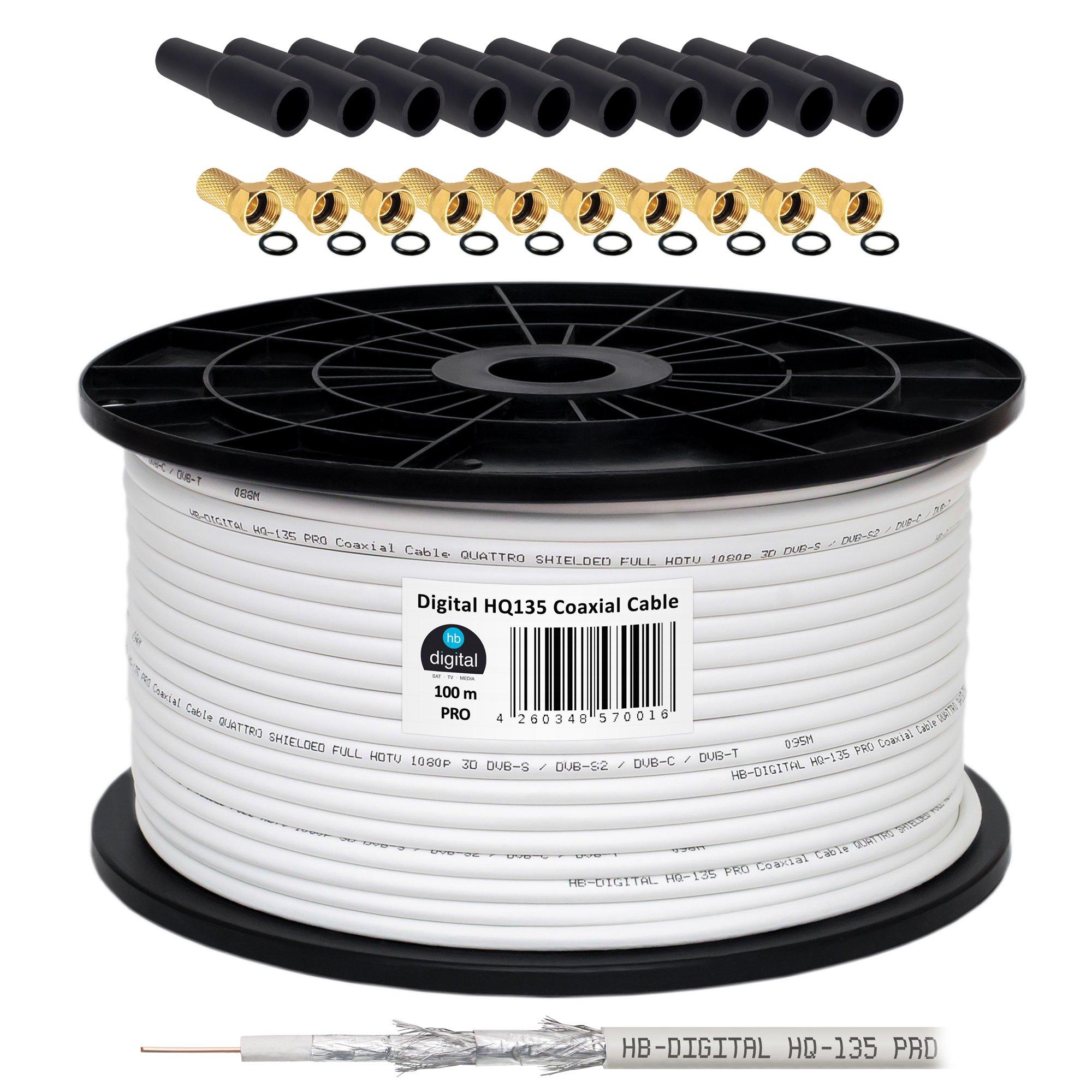 130 db 100 m cable coaxial HQ-135 PRO 4-capas + 10 F