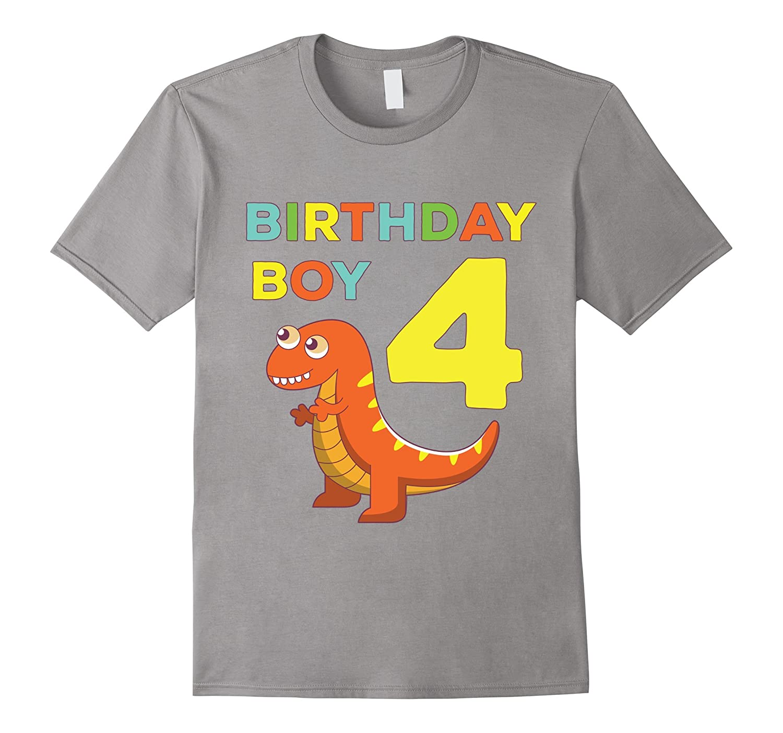 4th Birthday Boy Dinosaur Dino Fun Bday Party Gift T-Shirt-CD