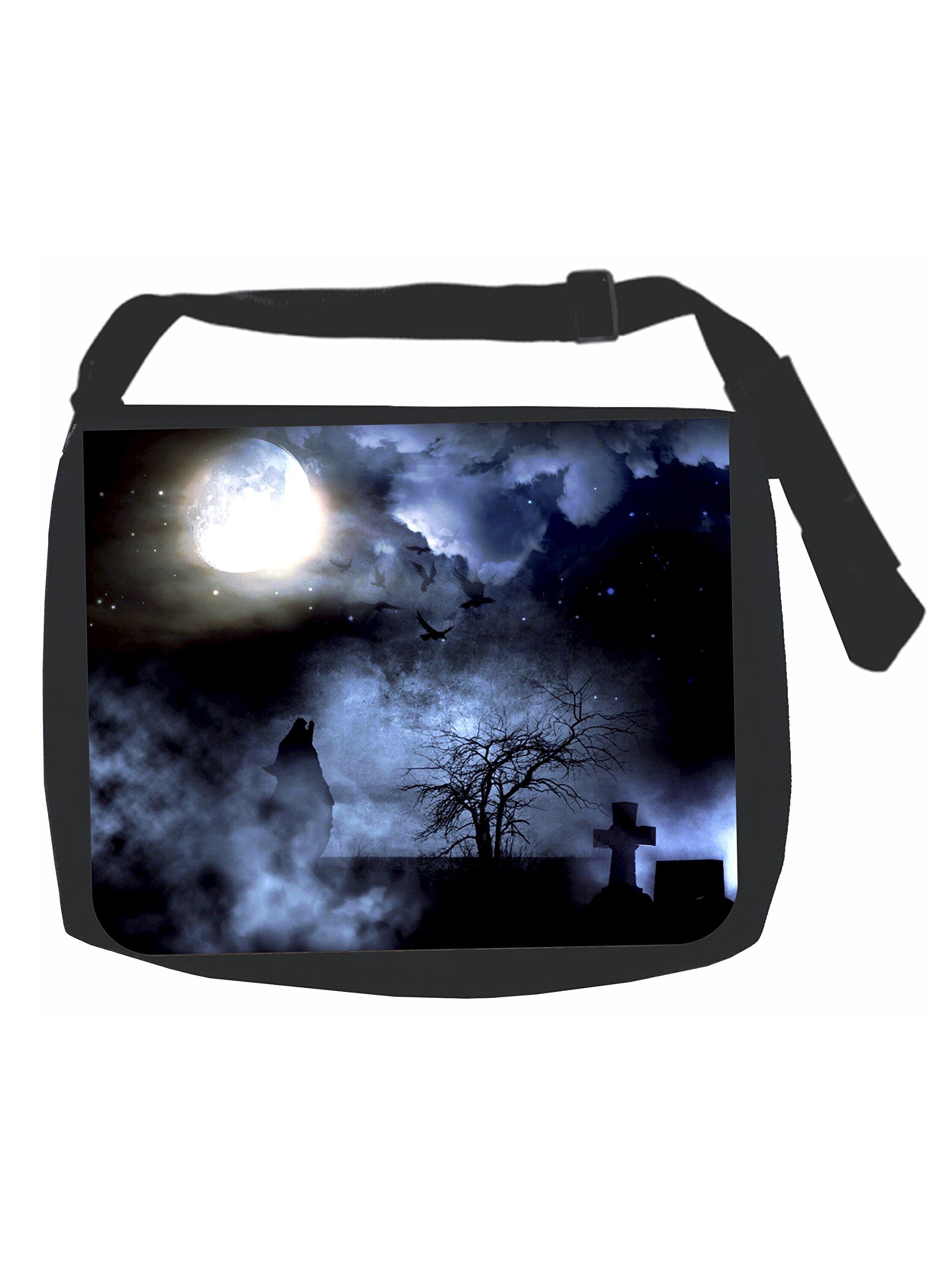 Wolf Howling in the Moonlight - Black Laptop Shoulder Messenger Bag