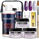 Modelones Acrylic Powder and Liquid Set Violet Acrylic Nail Kit with Professional Acrylic Nail Brush & Liquid Monomer No…