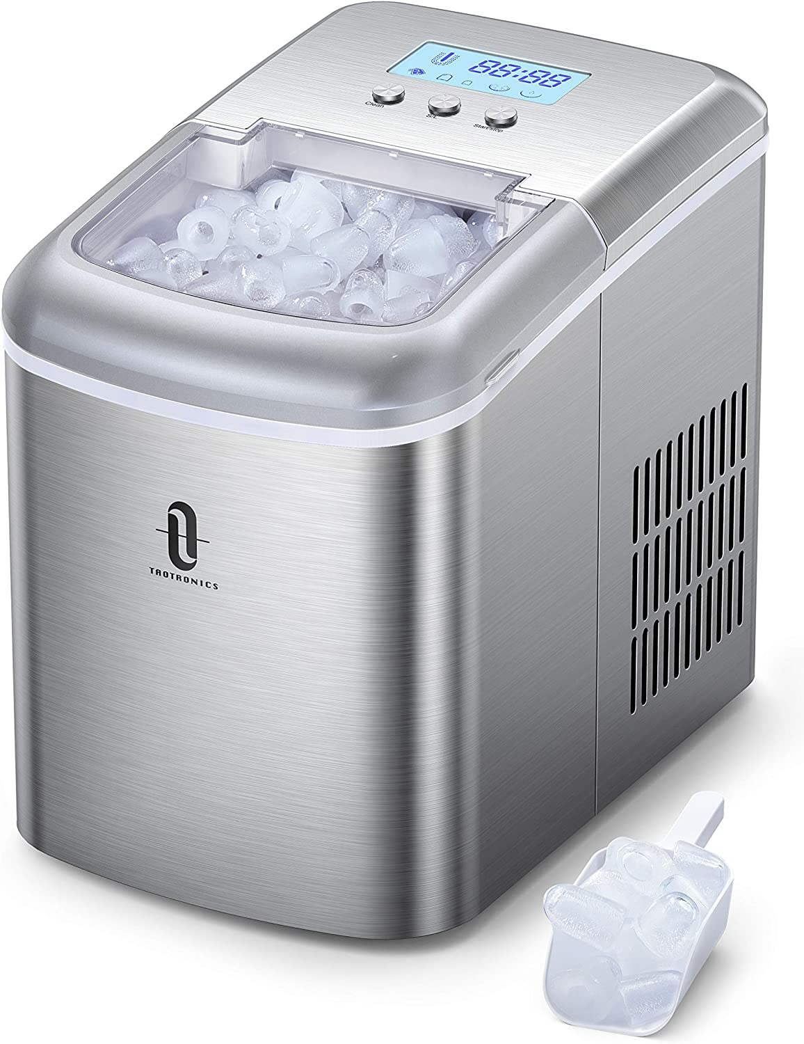 TaoTronics TT-IC002 Countertop Machine with LCD Display, Self-Cleaning Function, 9 Bullet Cubes Ready in 6-9 Mins, 26lbs/24H, 2.1L Electric Ice Maker with Scoop Basket for Home Kitchen Office Bar