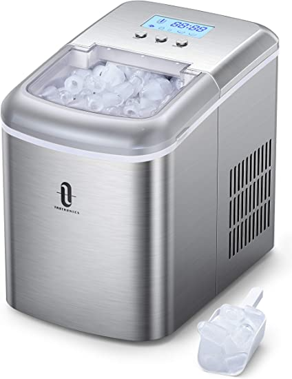 2 Size Bullet Shaped Ice,9 Cubes Ready in 6-8 Minutes,26LBS//24H-with Ice Scoop and Basket,for Home//Kitchen//Bar//Office Compact Counter top Ice Maker Machine with Self-cleaning