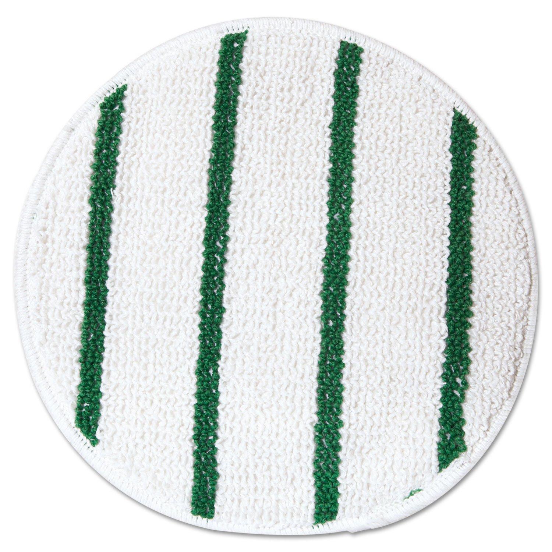 ODell Rubbermaid P267 Low Profile Scrub-Strip Carpet Bonnet, 17-Inch Diameter, White/Green, 5/Carton