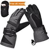 Solaris Ski Gloves, Winter Warm 3M Insulation Waterproof Snow Gloves with Free Breathable Face Mask for Skiing, Snowboarding, Motorcycling,Cycling, Outdoor Sports, Gifts for Men