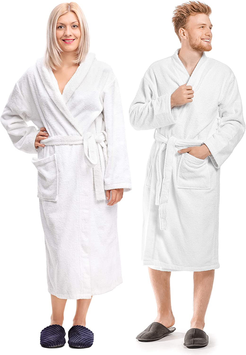 Luxury Bathrobe Towel, Spa Robe Combed Terry Cotton Organic Cloth for Men Women, Cotton Lightweight, Unisex White, Large
