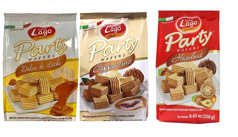 Amazon.com: Gastone Lago Party Variety Wafers Cream Filling 8.82 oz, 250g (Pack of 3) (Chocolate/Vanilla/Hazelnut, 3-Pack)