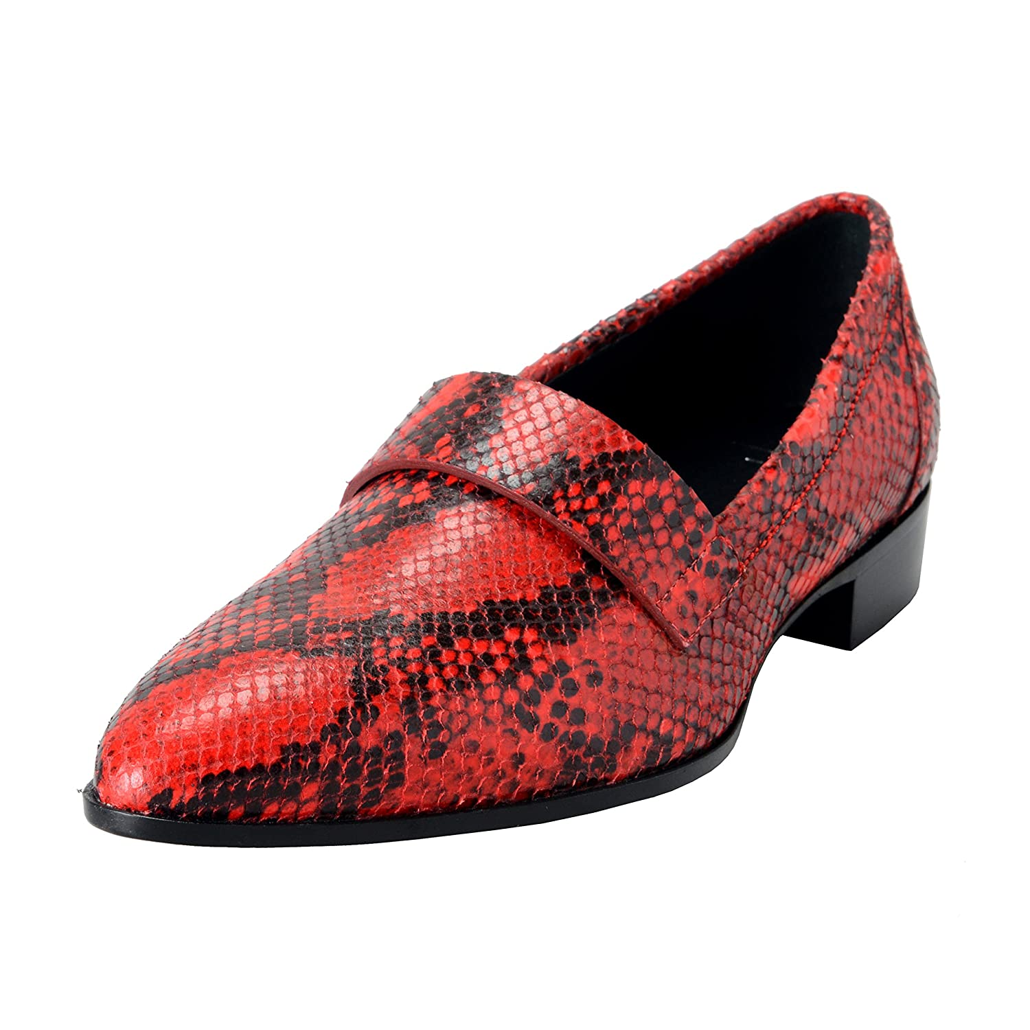 Homme Men's Python Skin Red Leather Dress Loafers Shoes